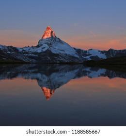 Matterhorn reflecting in Lake Stelli, Zermatt. Switzerland.