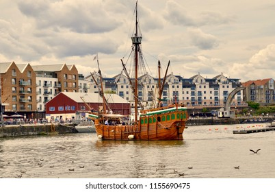 The Matthew of Bristol ship,  a replica medieval ship and popular tourist & visitor attraction for river cruises.  Great Western Dockyard. England UK. August 2018