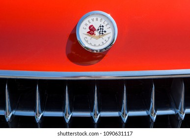 MATTHEWS, NC (USA) - May, 12, 2018: Closeup of the front grill and nameplate of a 1957 Chevy Corvette on display at the Cruisin' Car Show, part of the Matthews Beach Fest community festival.