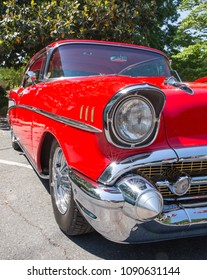 MATTHEWS, NC (USA) - May, 12, 2018: A 1957 Chevy Bel Air automobile on display at the Cruisin' Car Show, part of the Matthews Beach Fest community festival.