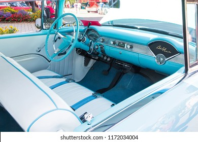 MATTHEWS, NC (USA) - September 3, 2018: Interior of a 1955 Chevy Bel Air automobile on display at the 28th annual Matthews Auto Reunion & Motorcycle Show.