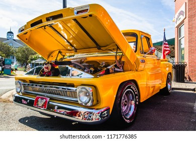 MATTHEWS, NORTH CAROLINA - SEPTEMBER 3 2018: A restored classic Chevrolet pickup truck parked on display at the Matthews Auto Reunion