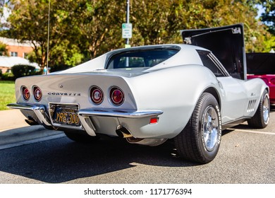 MATTHEWS, NORTH CAROLINA - SEPTEMBER 3 2018: A restored classic Chevrolet Corvette Stingray parked on display at the Matthews Auto Reunion