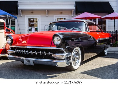 MATTHEWS, NORTH CAROLINA - SEPTEMBER 3 2018: A restored classic Ford Customline parked on display at the Matthews Auto Reunion