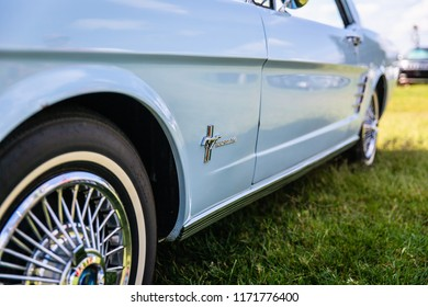 MATTHEWS, NORTH CAROLINA - SEPTEMBER 3 2018: Close up detail of a restored classic Ford Mustang on display at the Matthews Auto Reunion