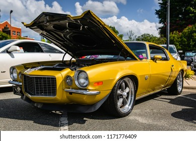 MATTHEWS, NORTH CAROLINA - SEPTEMBER 3 2018: A restored classic Chevy Camaro on display at the Matthews Auto Reunion