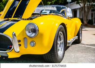 MATTHEWS, NORTH CAROLINA - SEPTEMBER 3 2018: Close up detail of a Shelby Cobra parked on display at the Matthews Auto Reunion
