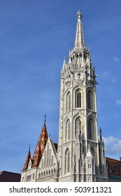Matthias Church beautiful gothic spire, in the historic center of Budapest