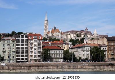 Matthias church and Fisherman bastion Budapest riverside cityscape Hungary