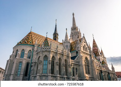 Matthias Church tower and decoration in Budapest Hungary on Buda's Castle District