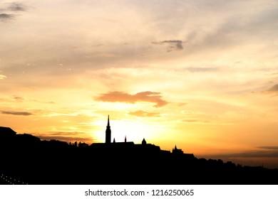 Matthias church tower sunset Budapest Hungary