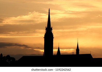 Matthias church tower sunset silhouette Budapesy Hungary
