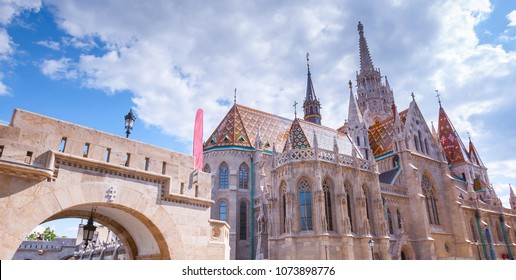 The Matthias Church(Nagyboldogasszony-templom) in the Fisherman's Bastion at the heart of Buda's Castle District. Beautiful gothic architecture style. Summertime sunny day in Budapest, Hungary.
