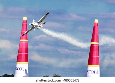 Matthias Dolderer from Germany races at the Masters Cup air race at the Red Bull Air Race 2016 in Ascot Stadium, UK on the 14.08.2016. Matthias Dolderer wan podium in the race.