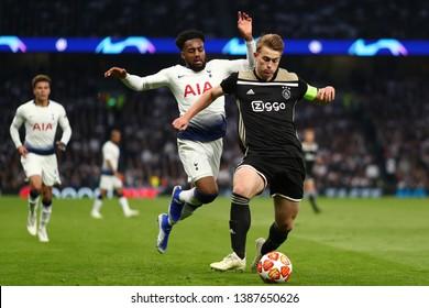 Matthijs de Ligt of Ajax beats Danny Rose of Tottenham Hotspur - Tottenham Hotspur v Ajax, UEFA Champions League Semi Final - 1st Leg, Tottenham Hotspur Stadium, London - 30th April 2019