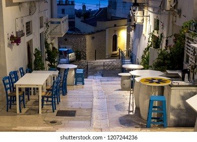 Mattinata Italy, September 2018. Street scene in Mattinata, on the Adriatic coast in the Gargano Peninsula, Puglia, Italy. Photographed at night. Mattinata is a quiet, undiscovered town in Puglia