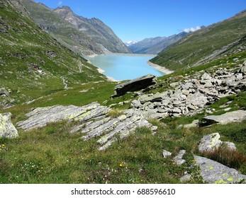 Mattmark Reservoir near Saas Fee, Valais, Switzerland