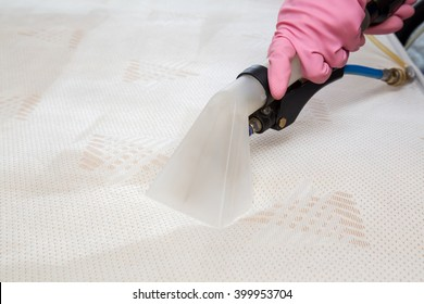 Mattress or bed chemical cleaning with professionally extraction method. Early spring cleaning or regular clean up.