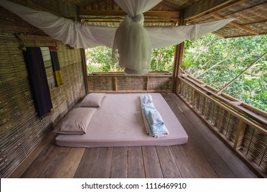 Mattresses in wooden houses in rural homestay nature.
