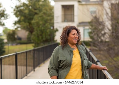 Mature African American woman taking a walk.