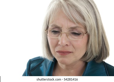 Mature, attractive Caucasian woman grieving