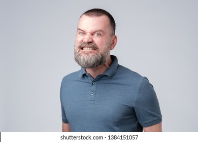 Mature bearded man in blue shirt angry and aggressively bares his teeth. Studio shot. Negative facial emotion