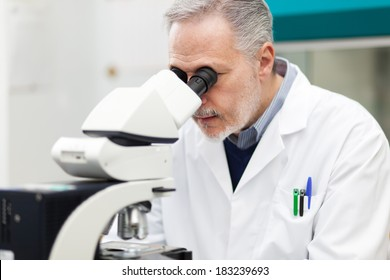 Mature biologist using a microscope