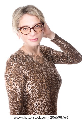 Mature blonde with glasses
