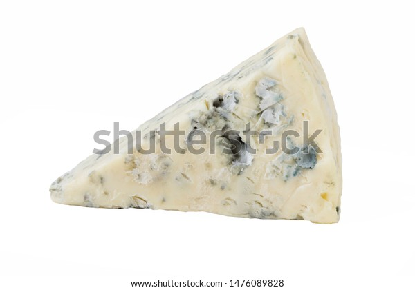 Mature blue  cheese isolated on a white background.