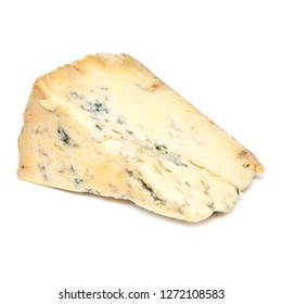 Mature blue stilton cheese isolated on a white studio background.