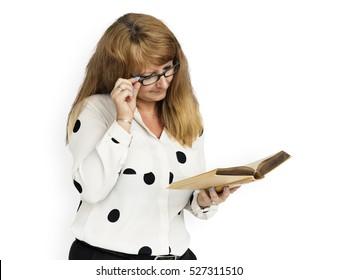Mature Business Lady Reading Book Concept