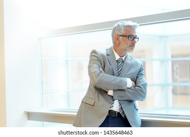 Mature business man looking out office window
