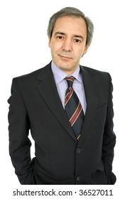 mature business man portrait in white background