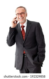Mature business man with smart phone, isolated