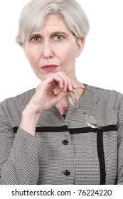 Mature business woman with glasses