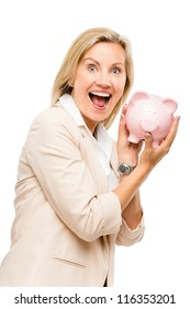 Mature business woman holding piggy bank isolated on white background