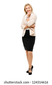 Mature Business woman isolated on white background