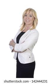 Mature Business Woman smiling, Studio Shot