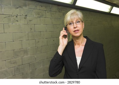 Mature business woman using a mobile phone.
