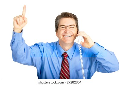 Mature businessman calling by phone.  Over white background