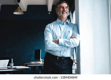Mature businessman in a corporate suit standing in office and looking away through large windows optimistically