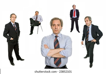 mature businessman in different positions, isolated on white
