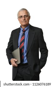 A mature businessman isolated on white holding a laptop computer under his arm.