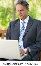Mature businessman using laptop at park