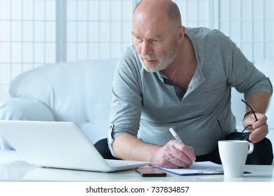 Mature businessman working with laptop