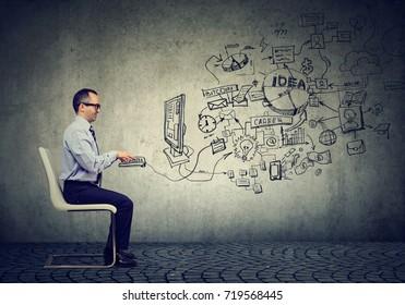 Mature businessman working in an office