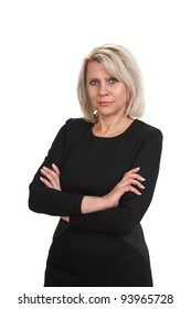 Mature businesswoman standing with arms crossed against  isolated on white background