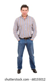 mature casual man full body, isolated in white