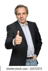 mature casual man portrait going thumb up