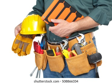 Mature contractor and notebook on a white background